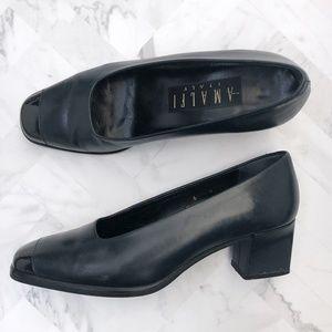 AMALFI Blue leather Slip on block heel 100159
